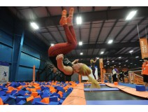 jumping at trampoline park